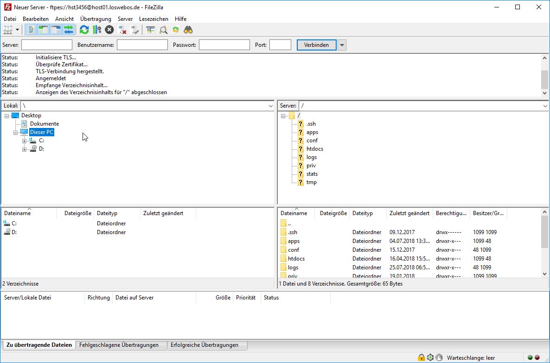 FTPS (FileZilla) - Support & Oft gestellte Fragen